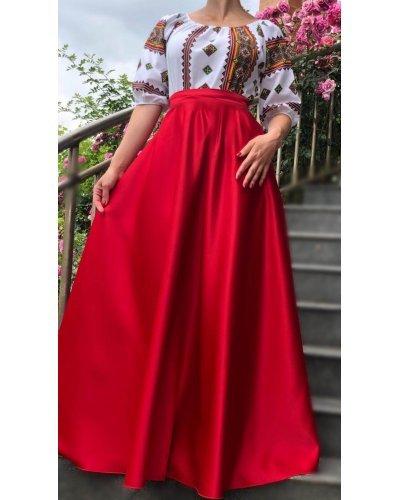 Rochie de ocazie traditionala tafta rosie Carmyna