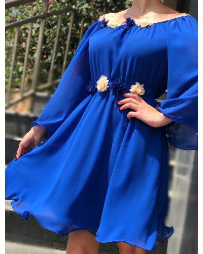 Rochie de ocazie voal albastru scurta Raisa