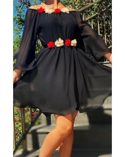 Rochie de ocazie voal negru scurta Raisa