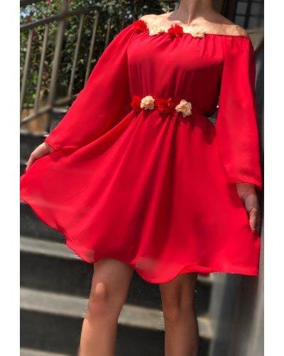 Rochie de ocazie voal rosu scurta Raisa