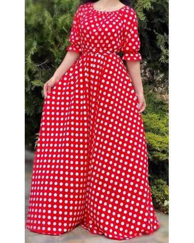 Rochie de vara lunga vaporoasa rosie cu buline albe Dolly