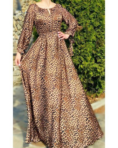 Rochie de zi  lunga din satin animal print leopard Gazelle