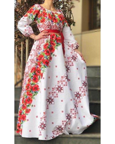 Rochie de zi traditionala lunga alba cu maci rosii Lorelei