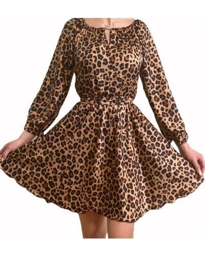 Rochie eleganta animal print leopard scurta in clos KittyCat