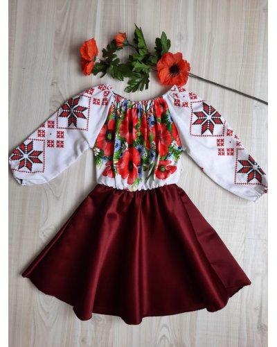 Rochie fata tafta burgundy cu motive traditionale AnnaKid