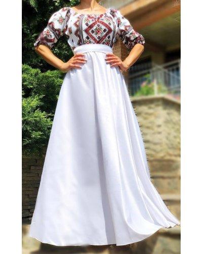 Rochie tafta alba cu motive traditionale Carmyna