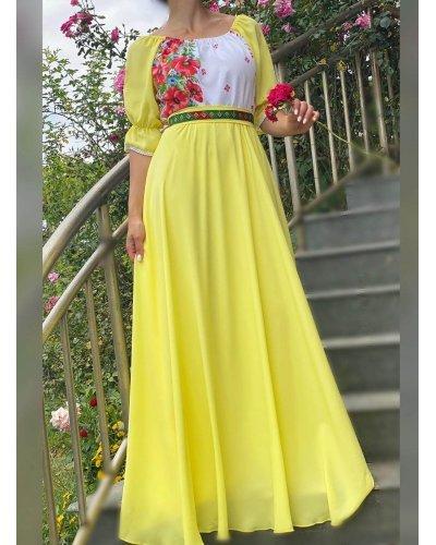 Rochie traditionala lunga din voal galben Emanuela