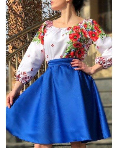 Rochie traditionala midi tafta albastra cu maci rosii Azra