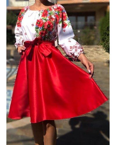 Rochie traditionala midi din tafta rosie cu maci Azra