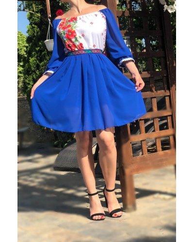 Rochie traditionala scurta voal albastru cu maci Loredana