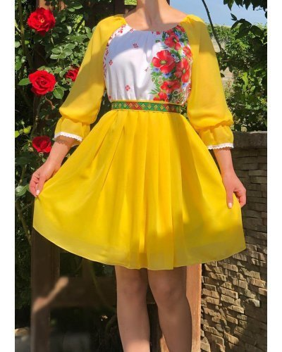 Rochie traditionala scurta voal galben cu maci Loredana