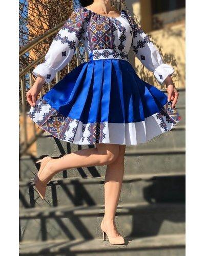 Rochie traditionala tafta albastra midi Mya