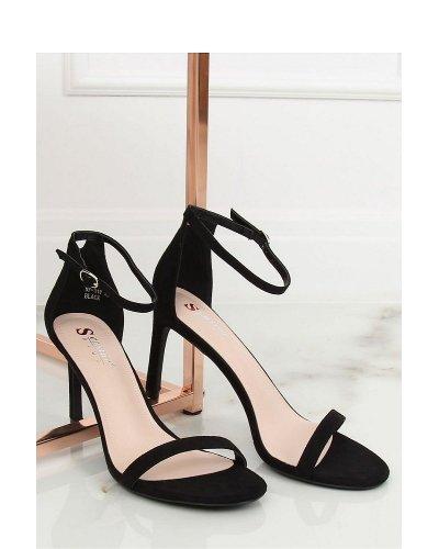 Sandale piele eco neagra cu toc subtire Simona