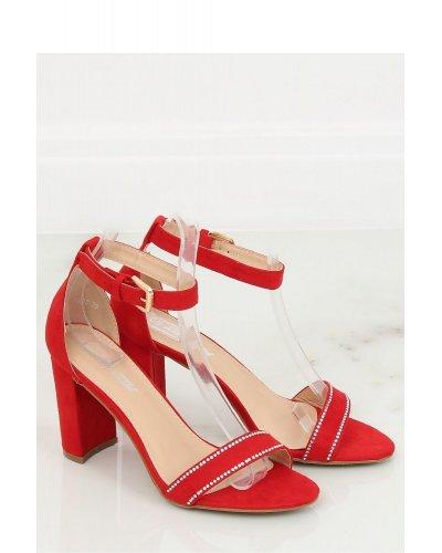 Sandale rosii cu toc patrat
