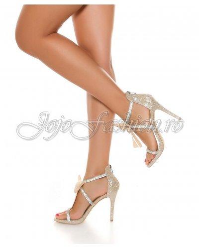 Sandale bej elegante cu barete decorate cu pietricele Erica
