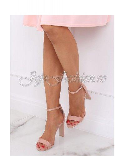 Sandale dama elegante roz cu toc inalt Ana