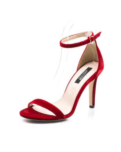 Sandale de dama elegante catifea rosie Adelise