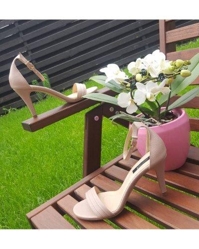 Sandale de dama elegante din piele naturala bej nude Julliette