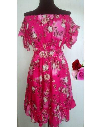 Rochie de vara in  clos ciclam cu flori Pinky