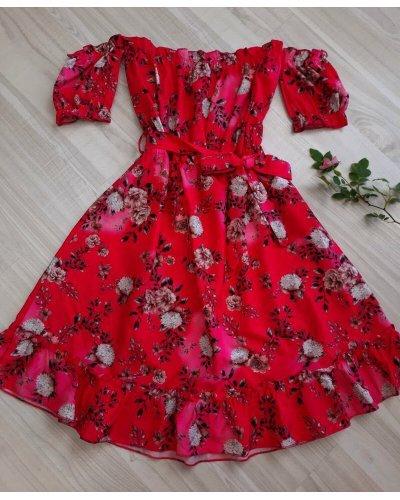 Rochie de vara in  clos rosie cu flori Pinky