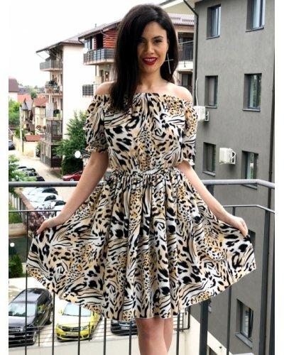 Rochie de zi din voal animal print midi Akallia
