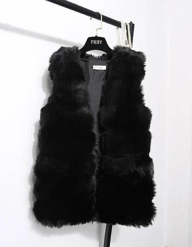 Vesta din blana eco neagra Felicia
